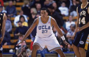 05 Dec 2001: Forward Matt Barnes #23 of the UCLA Bruins defends against the UC Riverside Highlanders during the NCAA game at Pauley Pavilion in Westwood, California. UCLA defeated UC Riverside 65-50. Mandatory Credit: Donald Miralle/Allsport