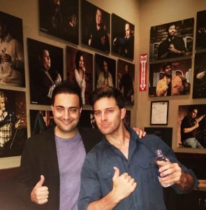 K-von (R) and the author of this article, Iman Sadri (L), at the Brea Improv after one of K-von's performance