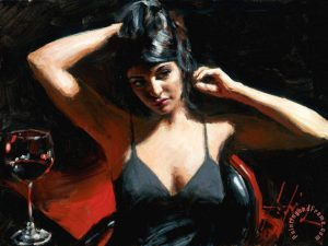 Saba at Las Brujas with Red Wine Painting by Fabian Perez; Saba at Las Brujas with Red Wine Art Print for sale